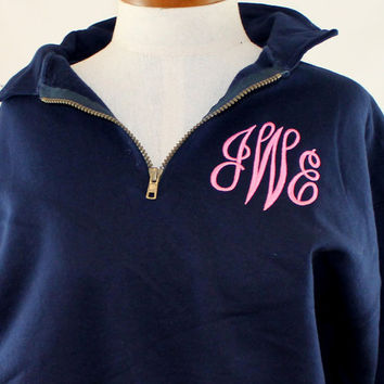 Monogram Sweatshirt 1/4 zip Personalized Preppy Sweater