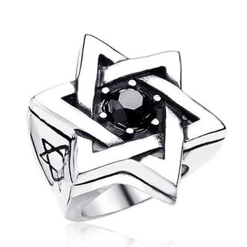 Men's Star of David Zircon Titanium Ring