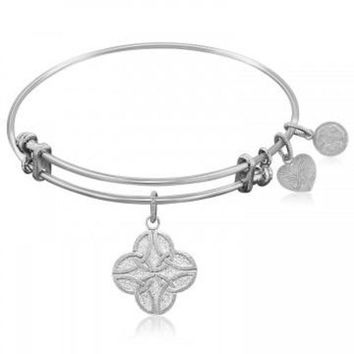 ac NOVQ2A Expandable Bangle in White Tone Brass with Celtic Four Knot Good Fortune Symbol