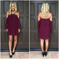 Off Shoulder Love Affair Crochet Dress - MERLOT