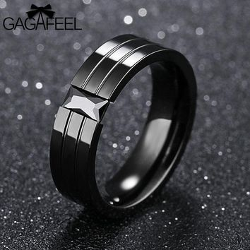 Gagafeel Vintage Engraving Customized Logo Rings For Men Jewelry Stainless Steel Crystal Zircon Black Rock Style Wedding Ring