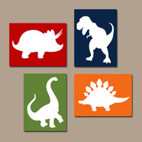 DINOSAUR Wall Art, Canvas or Prints Boy DINOSAUR Nursery Baby Boy Nursery Wall Art, Boy Bedroom Pictures Boy Boy Artwork DINO Set of 4 Decor