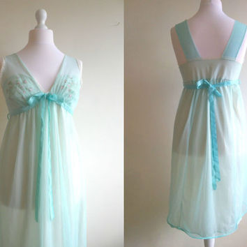 Vintage babydoll nightgown embroidered duck egg blue sheer lingerie