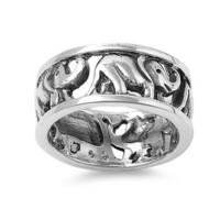 Sterling Silver Elephant Link Ring Band (Size 5 - 8)