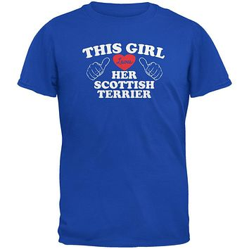 Valentines This Girl Loves Her Scottish Terrier Royal Adult T-Shirt