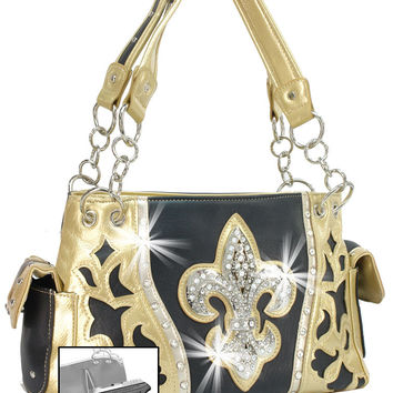 * Rhinestone Fleur De Lis Accented Concealed Carry Handbag In Black-Gold  M
