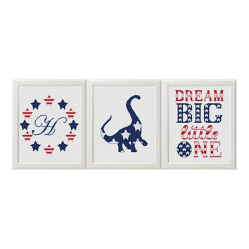 Baby cross stitch pattern Monogram Dinosaur set of 3 Dream Big Little One American Flag Symbols personalized baby gifts nursery animal cross