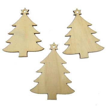 Christmas Wood Chip Tree Ornaments 10 Pcs
