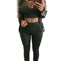 Army Green Long Sleeve Crop Top Faux Suede Pant Set