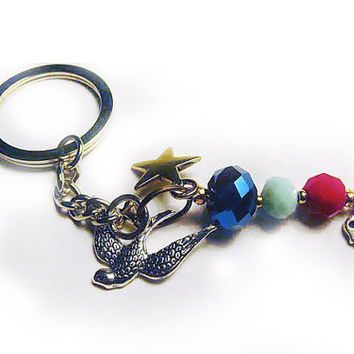 Swallow Keychain with Faceted Glass Beads, Star, Skull, & Cross - Keyring with Charms