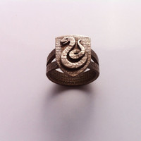 Inscribed Slytherin Crest Ring - Custom Size