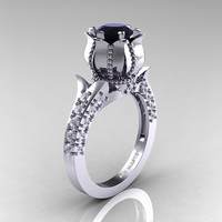 Classic 14K White Gold 1.0 Ct Black and White Diamond Solitaire Wedding Ring R410-14KWGDBD