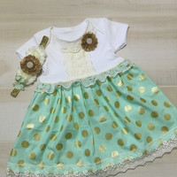 Easter Baby Girl Outfit-Gold Baby Dress-Gold Polka Dot Skirt-Baby Girl Outfits-Easter Baby Dress-Baby Lace Dress-Special Occassion-Baby