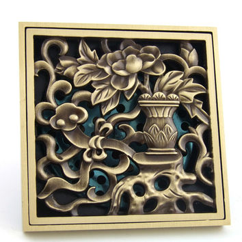 Antique Copper Anti-Odor Square Vase Bathroom Accessories Sink Floor Shower Drain Cover Luxury Sewer Filter K-8845 Shipping