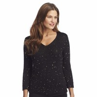 Chaps Sequin Sweater - Women's