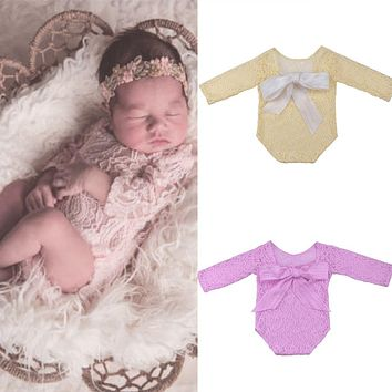 Newborn Baby Girl Long Sleeved Ribbon Lace Romper Photography Props Jumpsuit