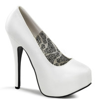 Bordello Wide Width White Matte Slip On Stilettos