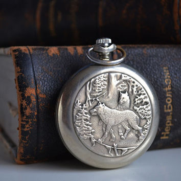 Pocket Watch with Wolves, Fully Working Soviet Pocket Watch, Retro Gift for Him, Old Russian Watch, Pocket Watch, Vintage Gift, Vintage Wolf