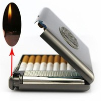DCCKL72 (20 cigarette) Men's vintage metal cigarette case with butane gas lighter,Lnflatable windproof  lighter,smoking cigarette box