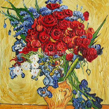 Poppies and Iris Collage by Vincent Van Gogh Flower Oil Painting Reproductions Still Life Painting Canvas Art Hand Painted 100%