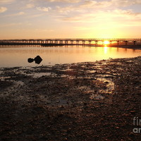 Sunset And Wooden Bridge In Ludo by Angelo DeVal