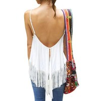 LookbookStore Fashion Women's White Flowy Fringe V-back Cotton Blend Tank