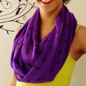 Royal Purple Flying Birds Infinity Scarf. Adult Size Infinity Scarf. Sheer Summer Scarf.