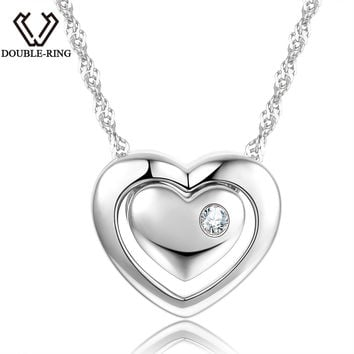 DOUBLE-R 0.025ct Natural Diamond Pendants Women 925 Sterling Silver Chain Heart Necklaces & Pendants Female Gift Diamond-Jewelry