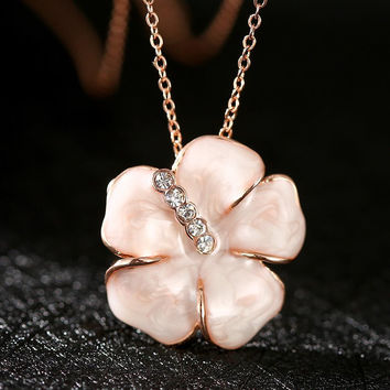 Rose Gold Plated Coral Onyx Floral Petal Necklace