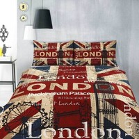 LONDON UK Big Ben Union Jack Quilt / Doona Cover Set - The Linen Gallery