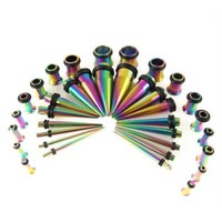 Gauges Kit Rainbow Anodized Titanium Stainless Steel Tapers with Plugs