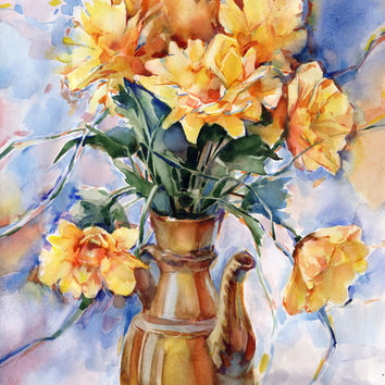 Yellow flowers painting - original yellow gerbera watercolor painting paper, print available