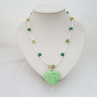 Green Jasper Heart Pendant, Jasper and Agate Necklace, Gemstone Necklace in Green