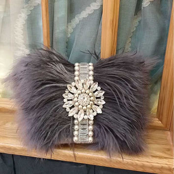 2017 Real Fur Handmade Beaded Messenger Bag Fashion Evening Bag Women Clutch Bag Delicate Banquet Bags Bride Wedding Party Purse