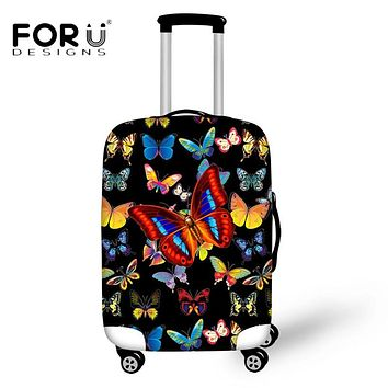 """FORUDESIGNS Travel on Road Luggage Protective Covers Animal 3D Butterfly Printing Trunk Case for 18-30"""" Case Elastic with Zipper"""