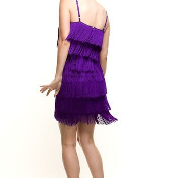 1920s Style Purple Fringe Flapper Dress - Unique Vintage - Prom dresses, retro dresses, retro swimsuits.