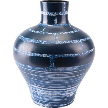 Blue & White Ocean Vase, Tall