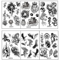 Tattoo lion 6 sheets Temporary Tattoo with Tiger Lion Skull owl