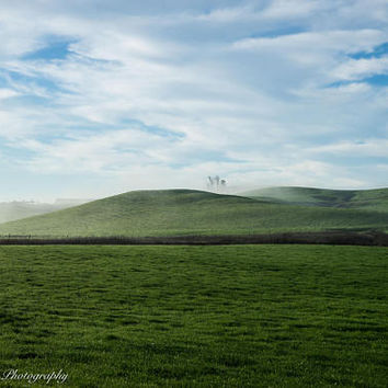 Spring in the Country Wall Art Print -- Fine Art landscape photography, Hills, California, Clouds, Home Decor, HeatherRobersonPhoto
