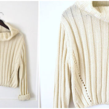 CROPPED knit turtle neck sweater vintage 90s SLOUCHY oatmeal knit neutral wool jumper os