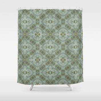 Victorian Golden Leaves Pattern 2 Shower Curtain by Lena Photo Art