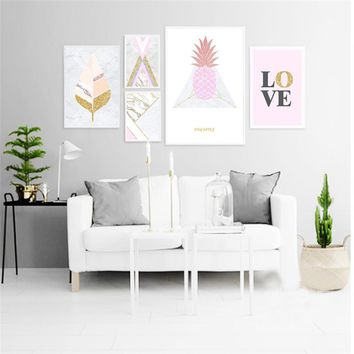 Nordic Canvas Painting Pink Pineapple LOVE Poster Print Picture Wall Art Painting Living Room Bedroom Home Decor Poster