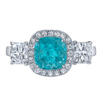 Tamir Timeless and Rare Paraiba Tourmaline and Diamond Ring.