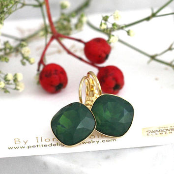 Emerald Earrings, Emeral Drop Earrings, Emerald Gold Earrings, Christmas Gift, Emerald Wedding, Bridesmaids Earrings, Dark Green Earrings