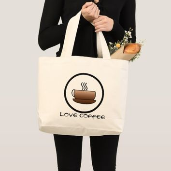 Steaming Coffee Mug Large Tote Bag