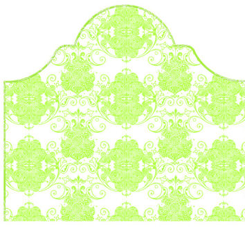 Wall Decal Headboard - Swirly Damask - Green and White - Twin Lite version Headboard