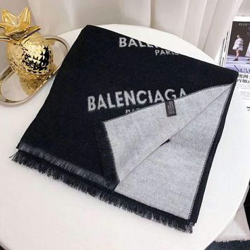Balenciaga 2018 winter new logo jacquard long cashmere shawl scarf