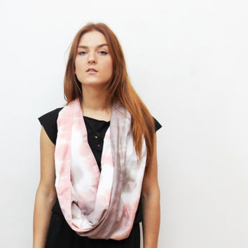 VIRGO 3/ Coral & Brown satin convertible hand colored long scarf with leather cuff - Ready to Ship