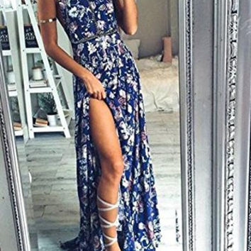 Blue Floral Print Halter Neck Backless Split Maxi Dress