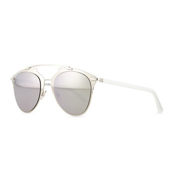 Dior Reflected Two-Tone Aviator Sunglasses, Silvertone/White